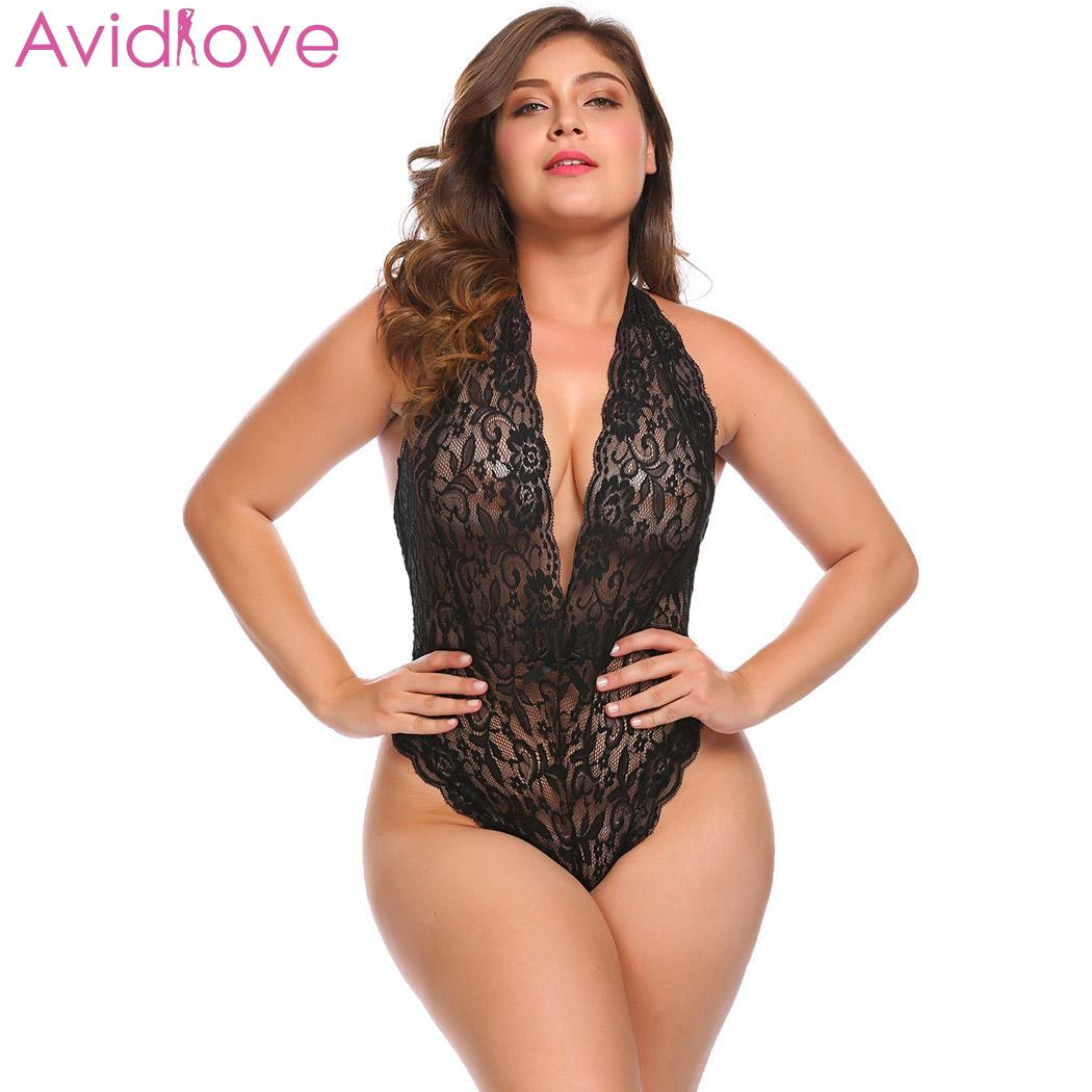 Avidlove Women Plus Size Bodystocking Sexy Costumes Sexy Lingerie Lace Halter Bodysuit Night Mesh Transparent lenceria|Teddies & Bodysuits| - AliExpress
