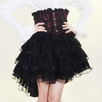 Knee length Black and Red and White Cotton Gothic Lolita Skirt