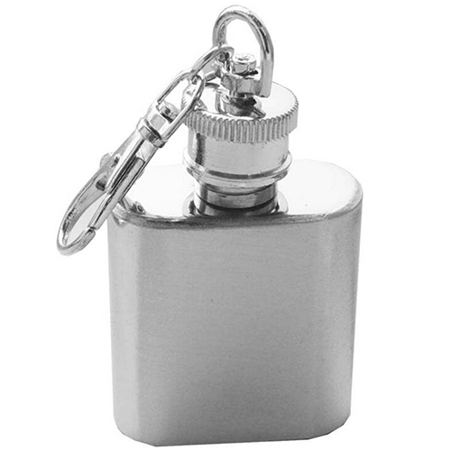 Hip Flask Alcohol Flagon Mini Stainless Steel Flagon with Keychain Vintage Flask