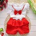 Лето дети одежда костюм девочка рубашка + короткая брюки 2 штук костюм дети бант одежда комплект для 1 ~ 7Y