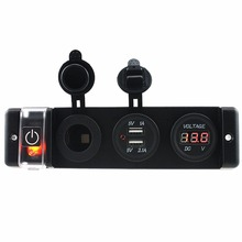 Car Boat Voltmeter DC12V-24V Power Cigarette Socket dual USB 3.1A Adapter with switch for Motorcycle Marine Carvan trailer