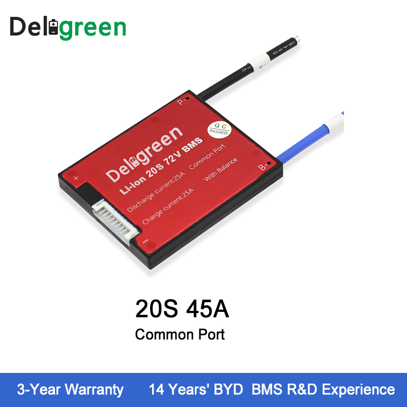 Deligreen 20S 45A 72V PCM PCB BMS for lithium battery pack 18650 Li Po LiNCM Battery