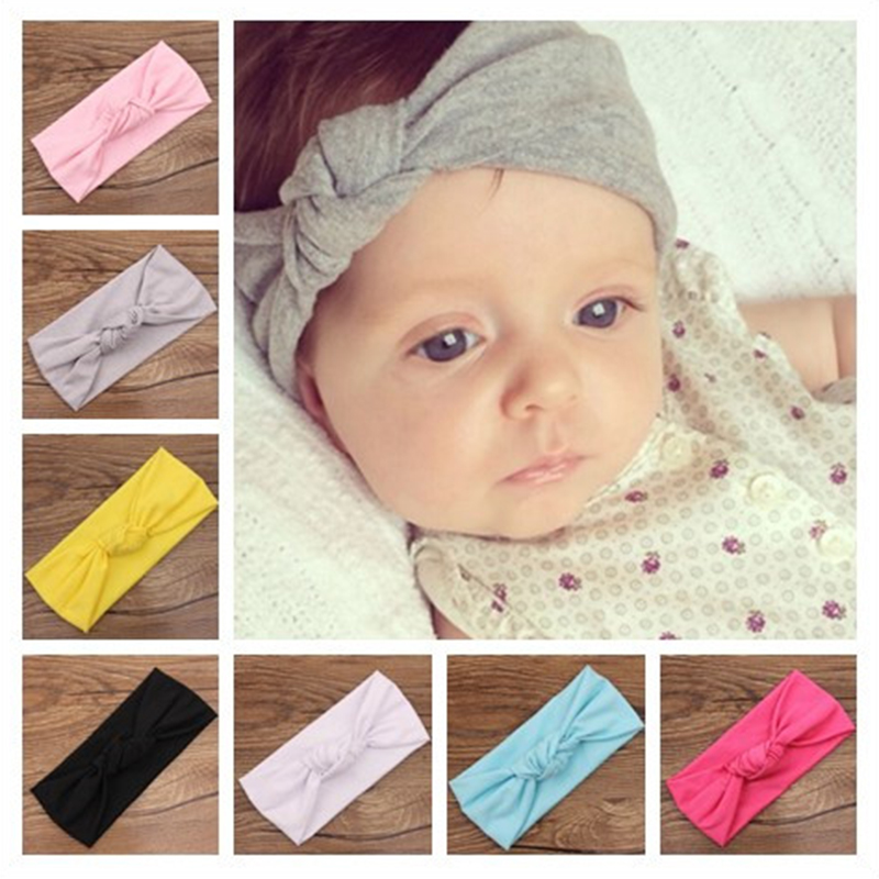 Baby Tie Knot Headband Knitted Cotton Children Girls Hair Band Toddler Turban Headband Summer Style Headwear Bandeau Bebe