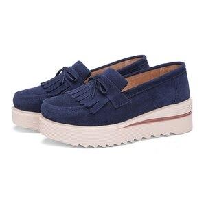 Image 4 - Plardin New Women Shoes Loafers Sneakers Genuine Leather Flat Platform  fringe Moccasins Ladies Female Fashion Shoes Woman