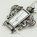 cool Men stainless steel Double Dragon Crown broken mirror pendant necklace link chain for gothic rock, AP916
