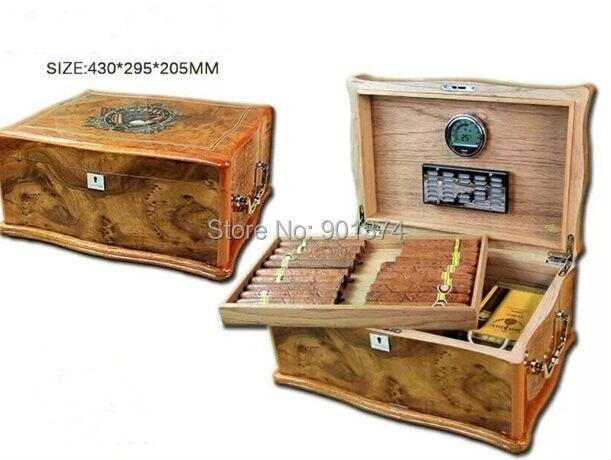 lubinski humidor  antique lubinski Cedar Wood glossy Finish Cigar Humidor Humidifier W ...