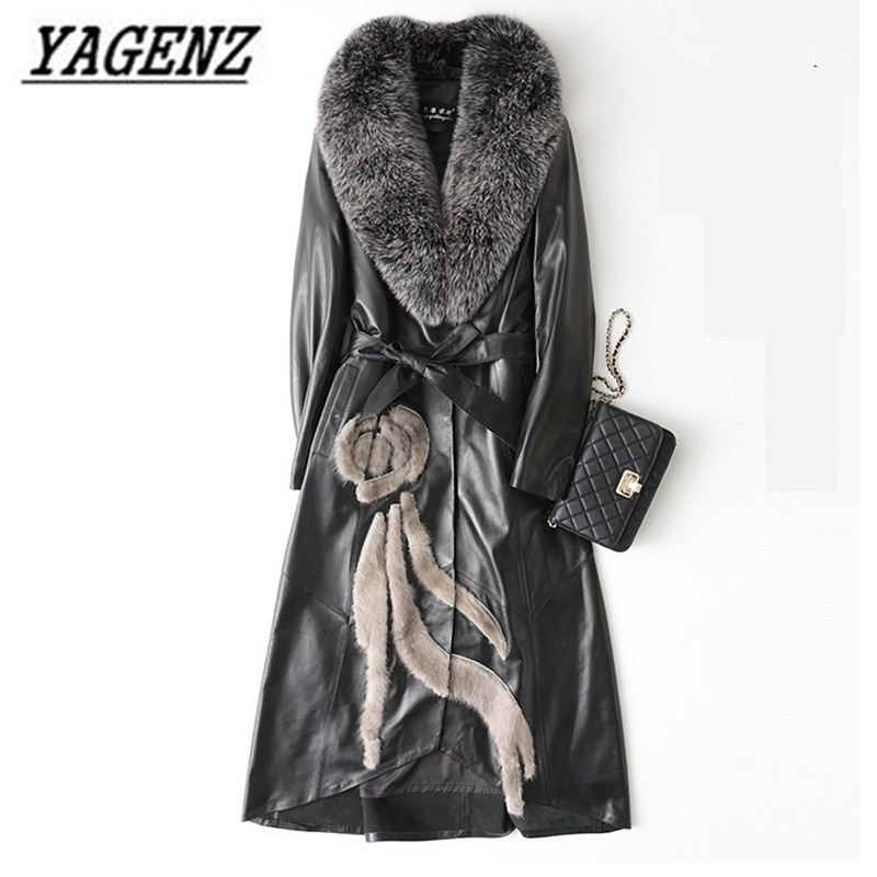High-grade Fox fur Women Down Jacket Coats Black Slim Winter Long Overcoat Large size 4XL Female   Leather   Jacket Windbreaker Coat