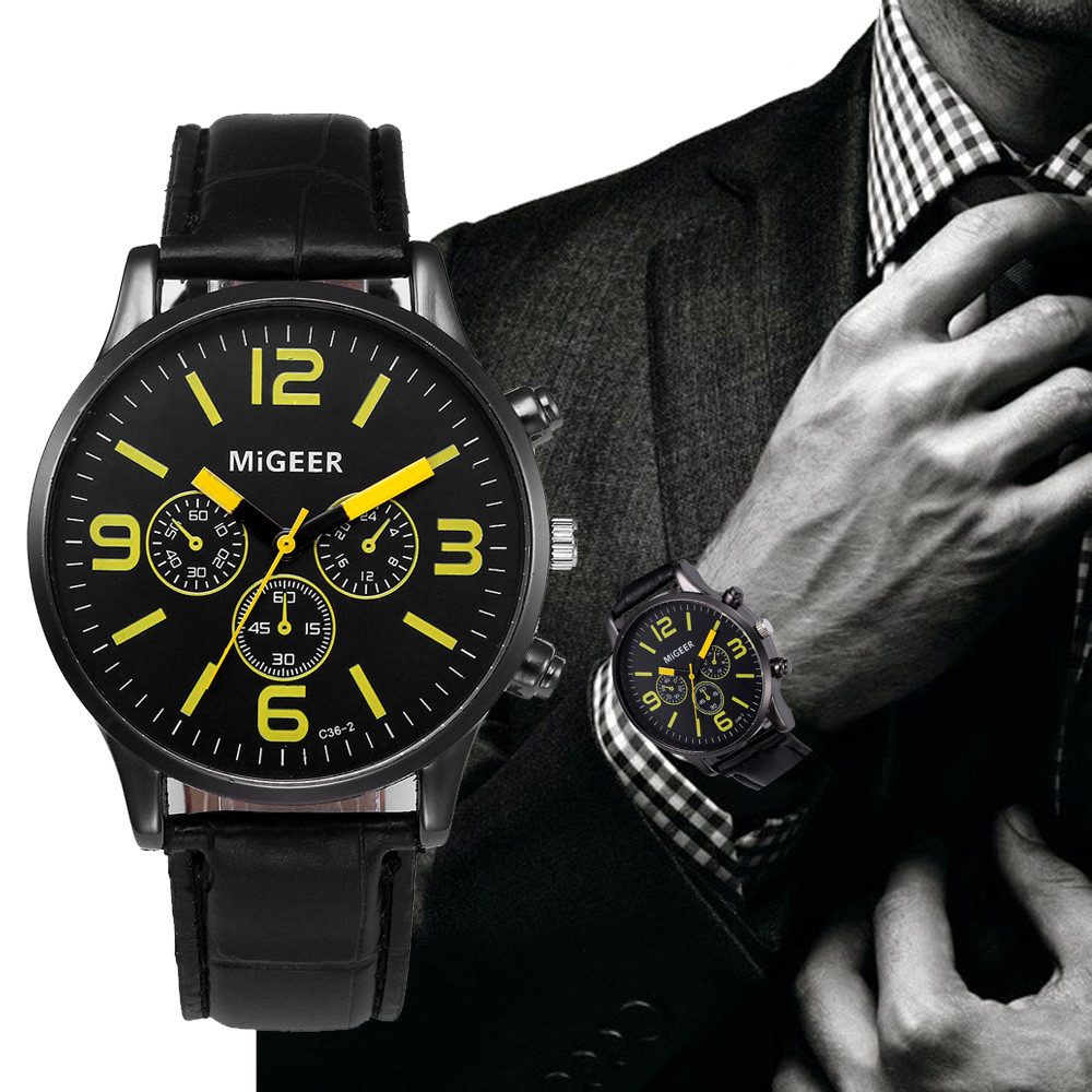 MIGEER Casual Watches Mens Faux Leather Strap Analog Quartz Wrist Watch Unisex Men's Sports Clock Black Dial Watches Relogio #Ju lovesky fashion 2016 unisex watches women men casual leather analog stainless steel quartz wrist watch dress watch relogio clock