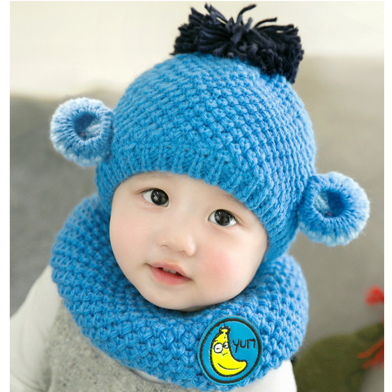 Winter Cartoon monkey newborn baby hat scarf set crochet baby hat boys girls Headwear Ruili photography props Knitted baby caps