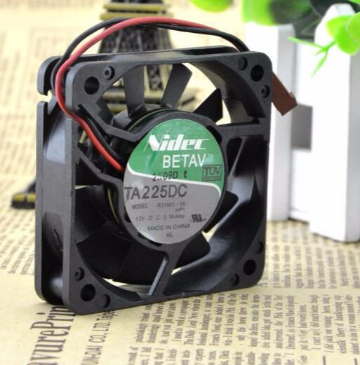 Original Nidec TA225DC R33965-55 6CM 60*60*15mm DC 12V 0.16A 2 Wire Double Ball Cooling Fan