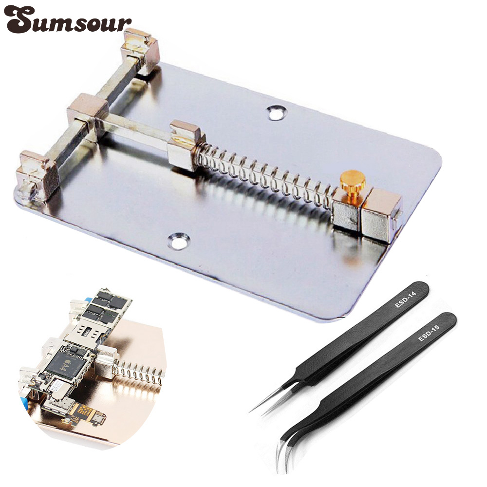 PCB Holder Jig For Cell Phone Circuit Board Repair Universal Rework Station SMD Soldering Platform With 2 Anti-static Tweezers