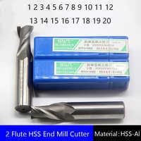 Two 2 Flute HSS End Mill Cutter CNC Bit Milling Cutter 1 2 3 4 5 6 7 8 9 10 11 12 13 14 15 16 17 18 19 20mm