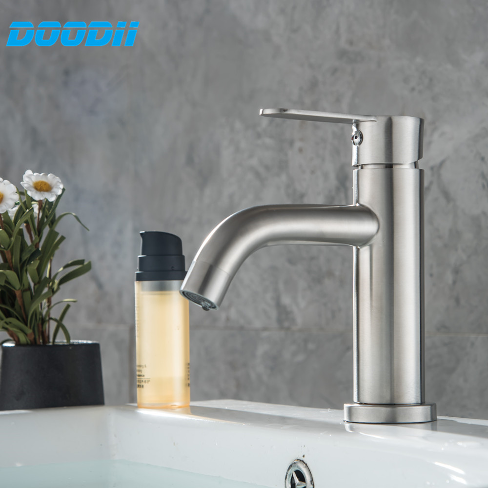 304 Stainless Steel Bathroom Basin Faucet Single Handle Mixer Tap Hot and Cold Water Mixer Wash Basin Faucet Doodii-D094