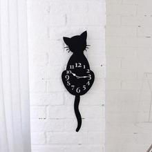 Acrylic Creative Cartoon Cute Cat Wall Clock Home Decor Watch Way Tail Move Silence Modern Design Wall Clocks  2017d12