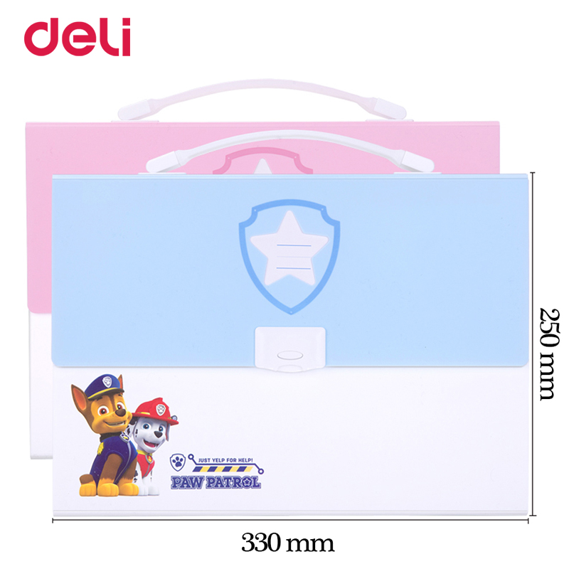 Deli cute paw patrol A4 expanding wallet with sticker for school kid office file document organizer stationery accordion folder simple plastic 5 section index band folder document file storage organizer filling stationery a4 size expanding wallet 4 colors