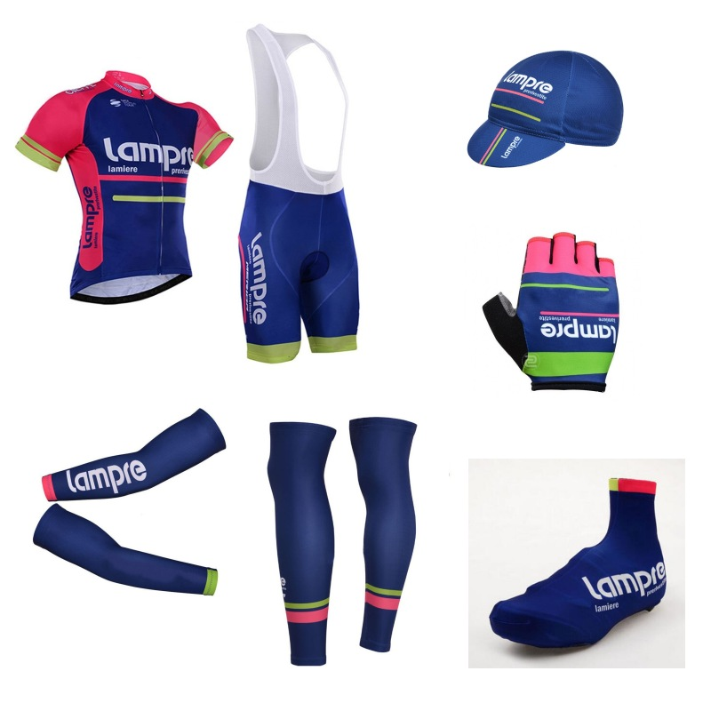 7pcs full set Team lampre cycling jersey breathable summer Short sleeve bike clothing MTB Ropa Ciclismo Bicycle maillot GEL xintown summer breathable mens team short sleeve cycling jersey riding clothing polyester bike set fluorescent shark