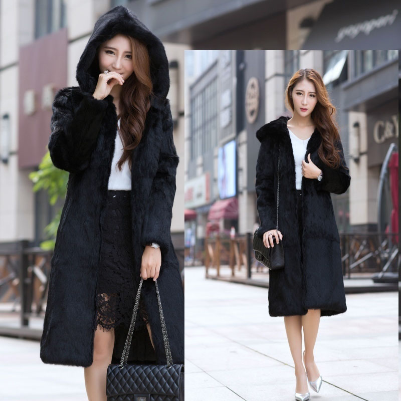 Long 100 cm plus size M 6XL natural rabbit fur coats outerwear women hooded whole skin real fur jackets 2018 new autumn winter