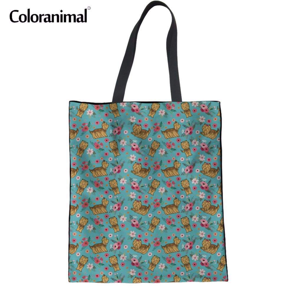 Coloranimal Yorkshire Terrier Flower Print Fashion Designer Women Canvas Linen Handbags Mujer Summer Beach Bags Shopping Bags