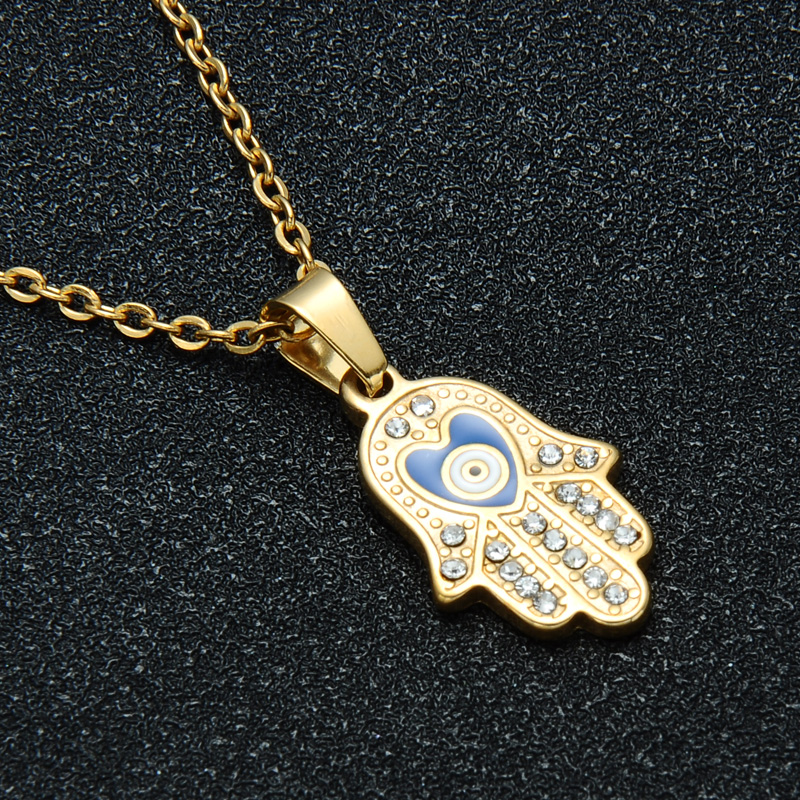HIP Hop Stainless Steel Mano De Fatima Hand Pendant Gold Crystal Evil Eye Necklaces &Pendants For Men Women Jewelry Dropshipping