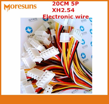 Free ship  200pcs/lot 20cm 5pin XH2.54 electronic wire with single rubber plug and another end of tin electronic cable