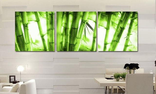 Framed Art 3p Wall Art Picture On Canvas Wall Painting Decor Green Bamboo  Adorn Your Bedroom