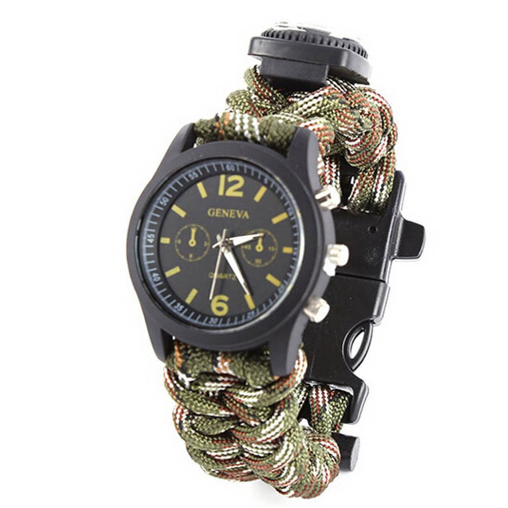 Top Outsports Survival Bracelet Watch Compass Flint Fire Starter Scraper Buckle Whistle Gear for Hiking Camping Hunting Boating 10a 5 in 1 multi purpose flashlight fire starter compass lanyard buckle