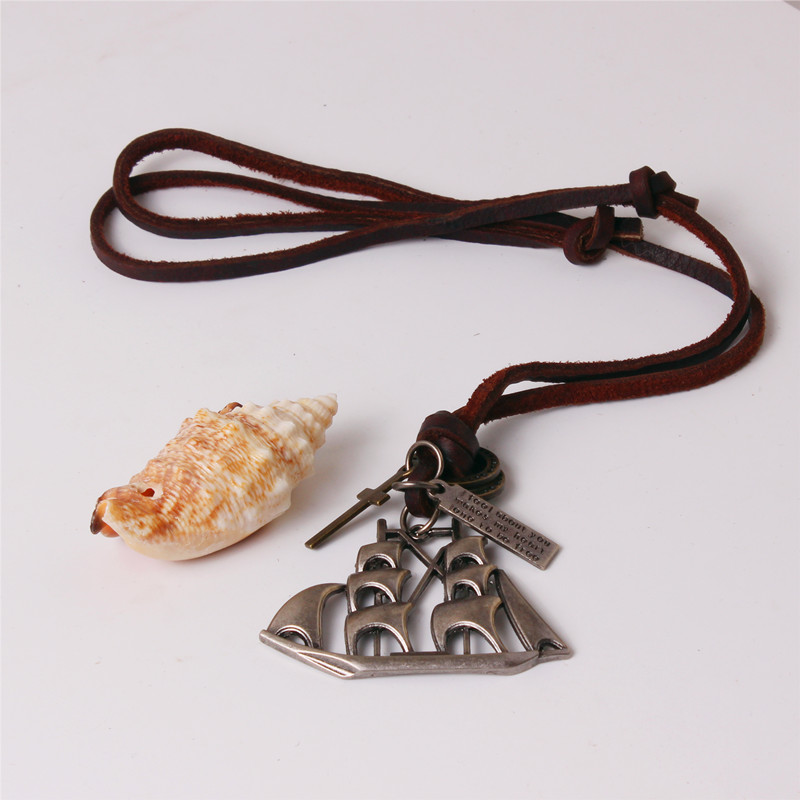 steampunk retro Caribbean pirate sailboat pendant young people fashion necklace 25leather cord chain necklavce adjustable