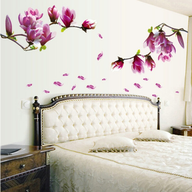 70*50cm Magnolia flower blossoms sticker wall sticker creative fashion hall wallpaper floral DIY paste home bedroom AY9157