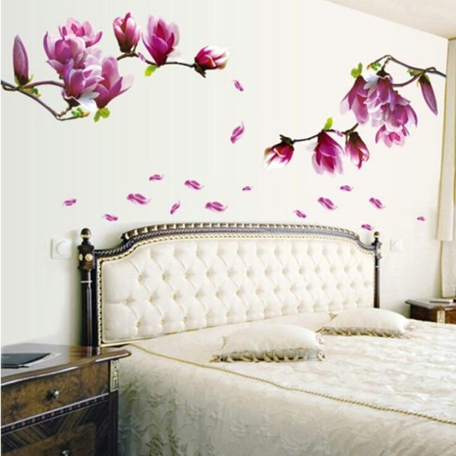 70 * 50 cm Magnolia blommor blommar klistermärke vägg klistermärke kreativ mode hall tapeter blommig DIY klistra hem sovrum AY9157