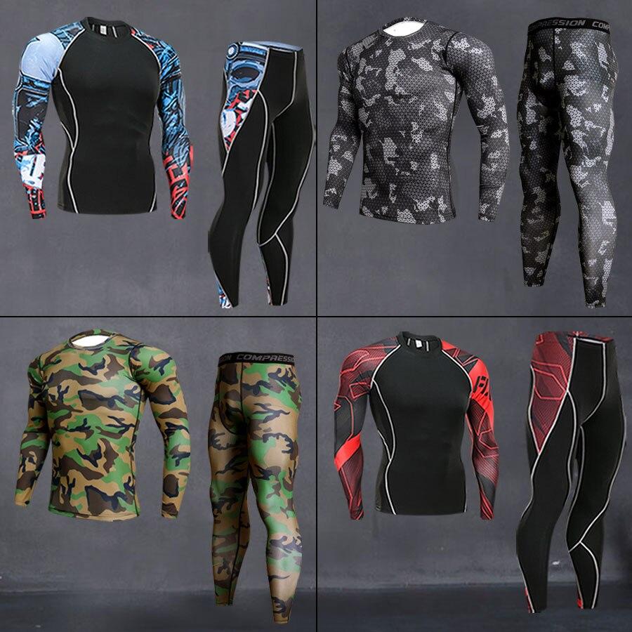 Мужские комплекты для бега, Спортивные Компрессионные костюмы, тренировочная футболка, одежда для тренажерного зала, комплект для фитнеса, ...