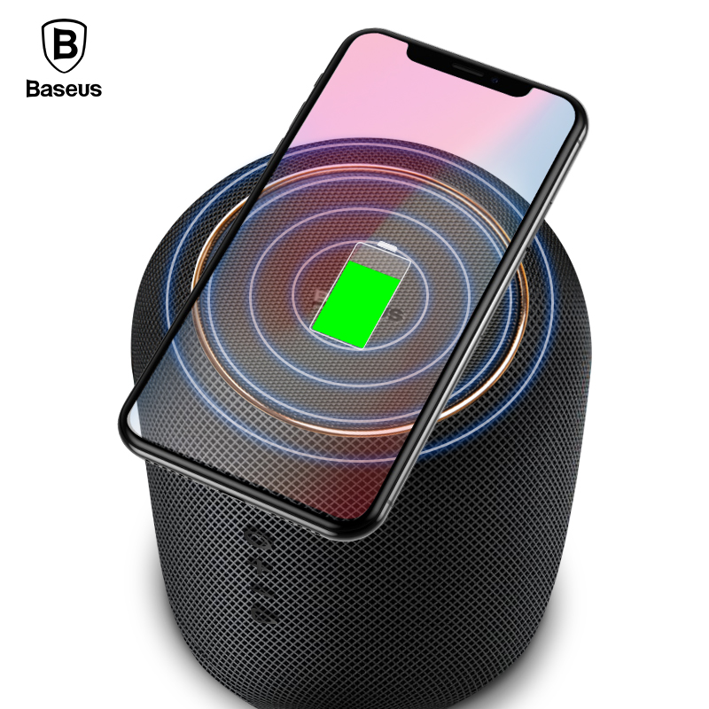 Baseus Portable Bluetooth Speaker With Wireless Charger Fast Charging Qi Wireless Charger Speaker For IPhone X 8 Samsung S9 S8 nillkin cozy mc1 2 in 1 qi wireless charger hifi bluetooth speaker