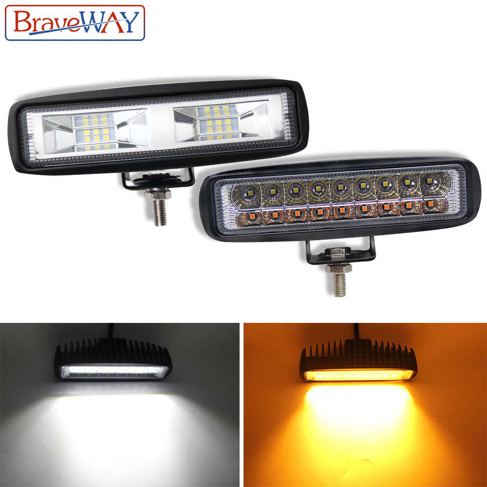 BraveWay 36W Off-Road LED DRL Daytime Running Light Fog Lamp LED Work Light 12V Headlight for UTV ATV Truck Motorcycle Offroad