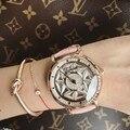 Женские часы с кожаным ремешком  модные дизайнерские водонепроницаемые часы со стразами  кварцевые часы  2019
