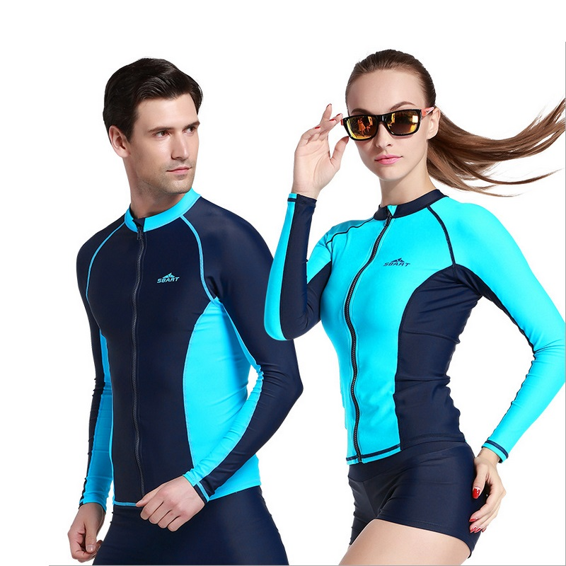 SBART Men&Women Surf Rash Guard Wetsuit Swim Jacket Long Sleeve Front zip Rashguard Surfing Swimsuit WetSuit Shirt Diving Suit