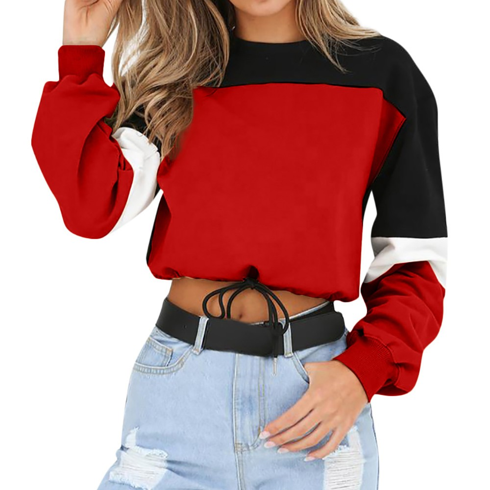Womens Long Sleeve Splcing Color Sweatshirt Pullover Tops Blouse O Neck Blusas Mujer De Moda Cotton blouse Подушка
