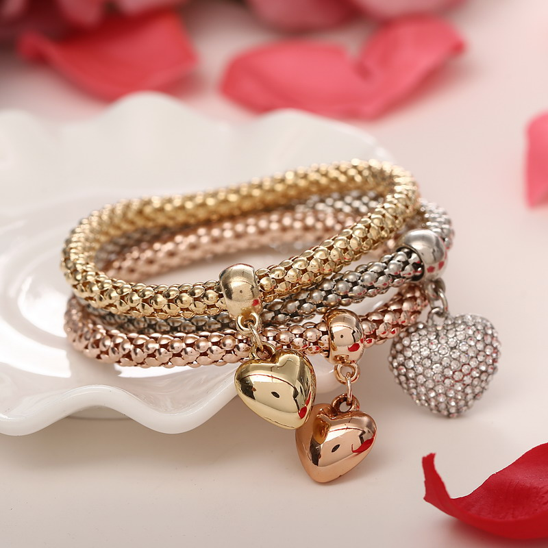 3 Pcs/Set Crystal Owl Heart Charm Bracelets & Bangles Gold/Silver Plated Elephant Anchor Pendants Rhinestone Bracelets For Women 2