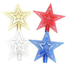 10cm Christmas Tree Topper Star Happy Christmas Treetop Star Festival Decoration For Home House Table Topper Decor(China)