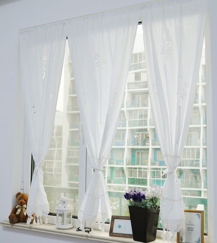 White Cotton Pierced Crochet Lace Handmade Kitchen Curtains For Living Room  Bedroom Fluid Blinds Roman Curtain
