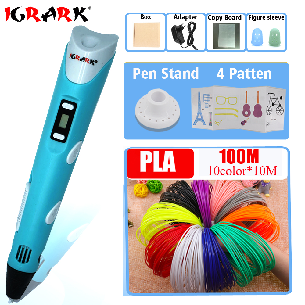 IGRARK 3D Printer Pen 3D Drawing Pens With 20Colors ABS/PLA Filament LCD 3D Pens Children Birthday/Christmas gift DIY Drawing(China)