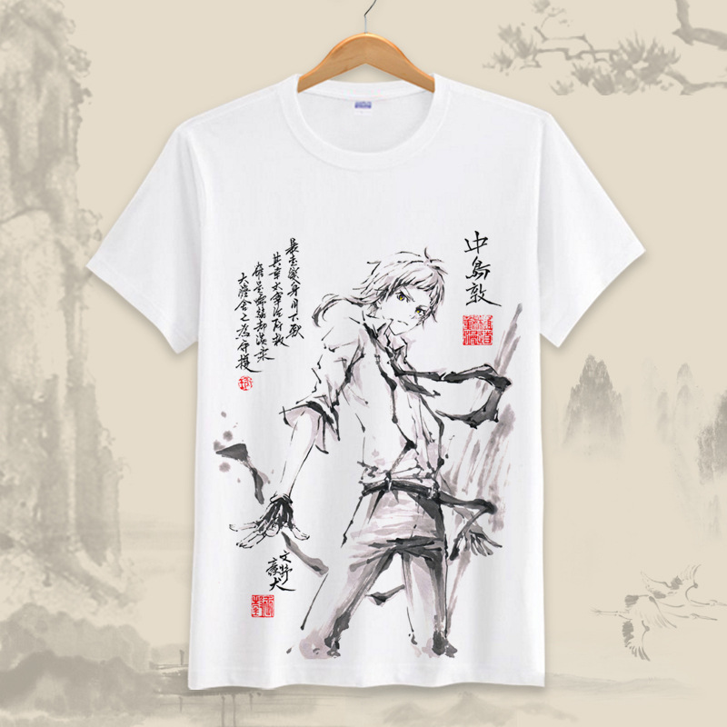 Anime Bungou stray dogs T Shirt Chuuya Nakahara T-Shirt Short Sleeve Tee Shirt Men Women Cotton Tshirt