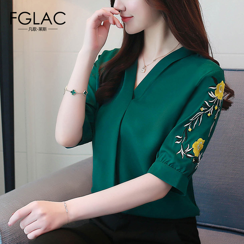 FGLAC Chiffon blouse shirt Elegant Slim V-neck women tops New Arrivals 2018 short sleeved summer tops Embroidery Blusas