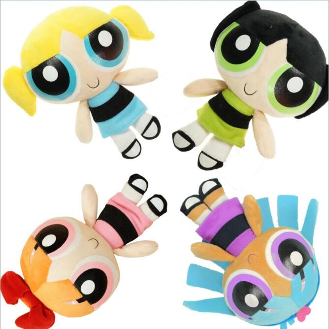 20cm The Power Puff Bubbles Blossom Buttercup Stuffed Toys Plush Dolls Girls Toys Cartoon Anime Gifts