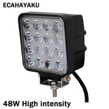 ECAHAYAKU 1x 48W 4 inch 6000K Spot Flood LED Work Light Bar For offroad 4x4 ATV Truck Tractor SUV Vehicle 12v fog driving Lights