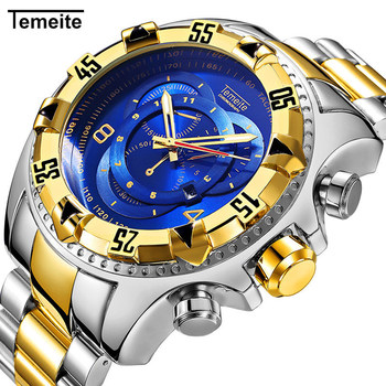 Temeite Luxury Quartz Men Watch Fashion Stainless Steel Gold Wristwatches Big Dial Sport Watches Waterproof Relogio Masculino