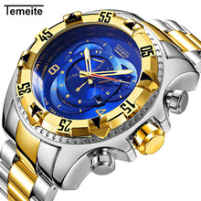 Temeite Luxury Quartz Men Watch Fashion Stainless Steel Gold