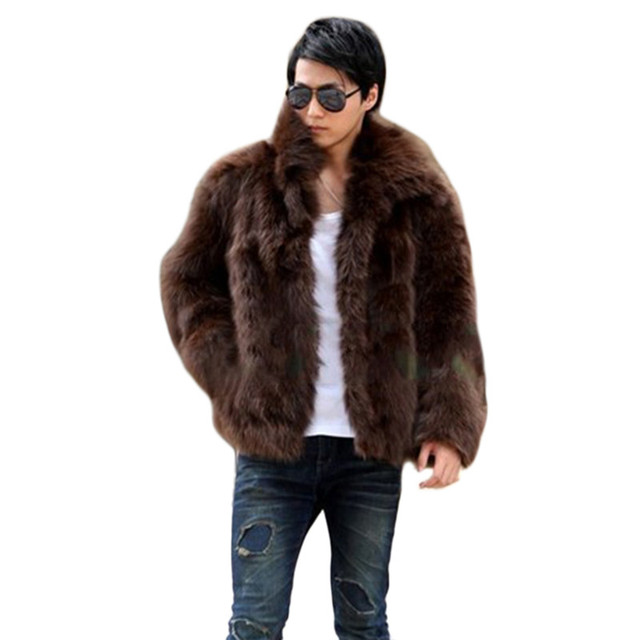 Fluffy hairy men winter warm coats high quality Large faux fox fur coat Men's fur coat lapel jackets Schwarzen Pelzmantel