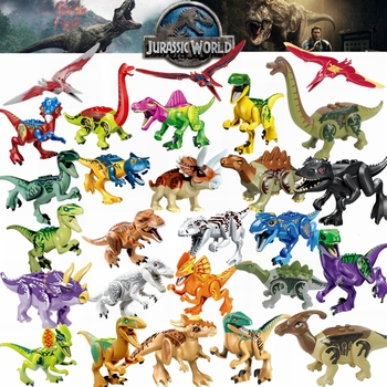 Creator Jurassic Dinosaur World Park Fallen Kingdom Carnotaurus & Interbreed Velociraptor T-Rex Movies Dinosaurs Blocks Creators 1