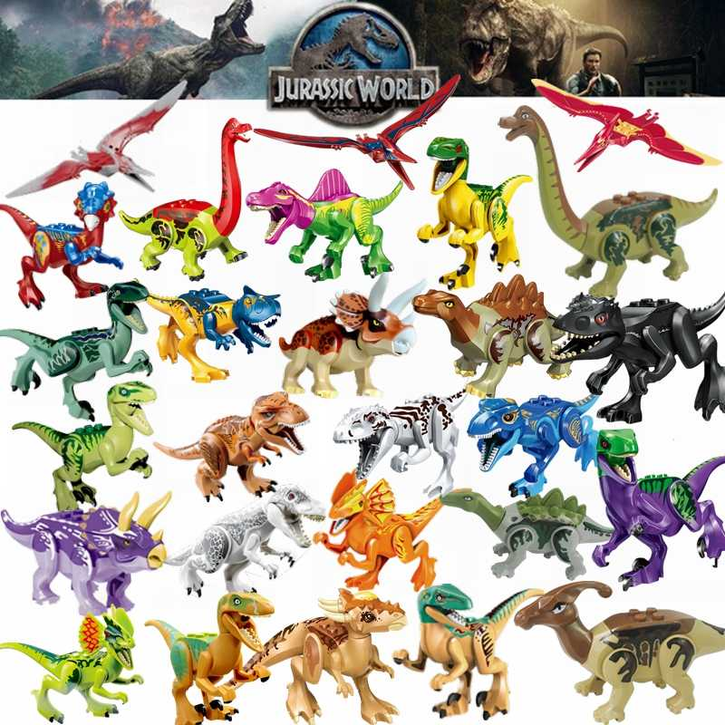 Legoing Jurassic Dinosaur World Park Fallen Kingdom Carnotaurus & Interbreed Velociraptor T-Rex Movies Dinosaurs Blocks Legoings