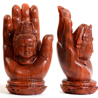 18*10cm Palm Buddha Solid Wood Carving Sculptures Home Top Grade Quality Decoration Creative Desk Table Statue Figurines Desktop