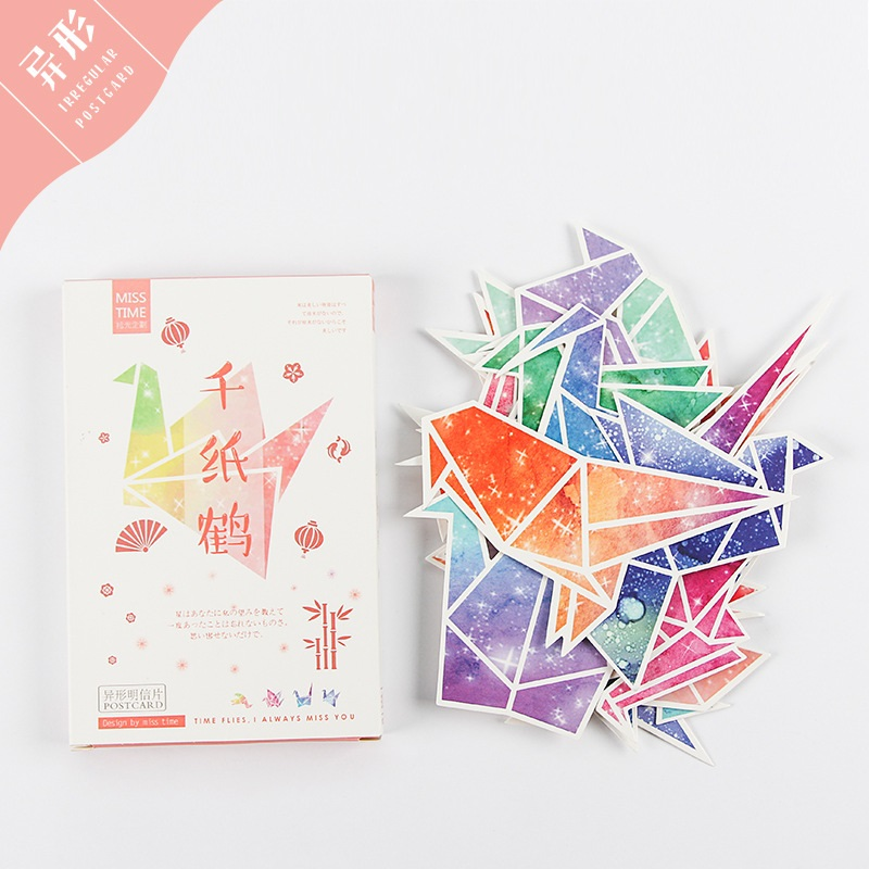 30 Sheets/LOT Colorful Paper Cranes Postcard /Greeting Card/Message Card/Birthday Letter Envelope Gift Card
